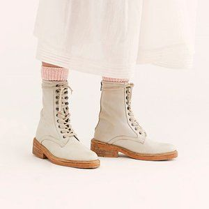 Free People women's leather lace and zip up boots.
